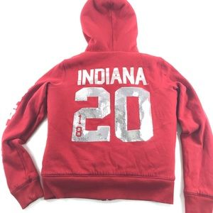 Pink VS Lined Hooded Zip Sweatshirt Indiana IU